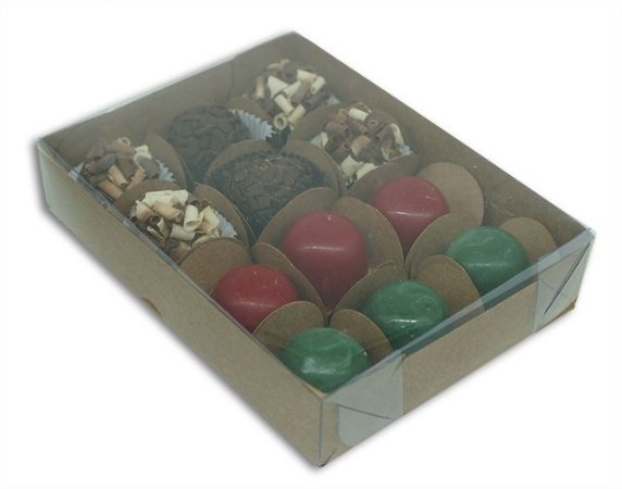 Embalagem Kraft p/ 12 doces (15,5x12x3) pacote c/ 20 unidades