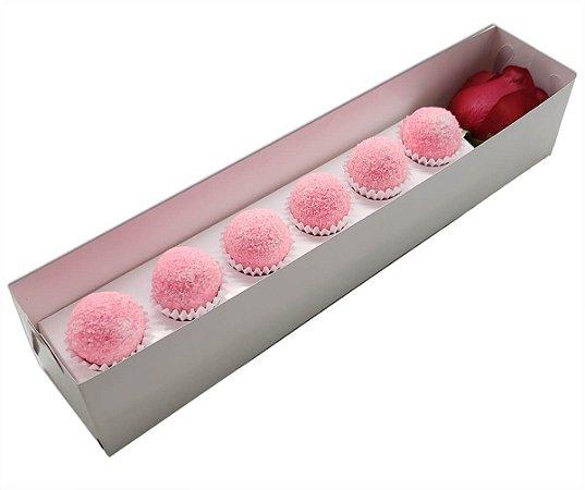 Embalagem para 6 doces e uma rosa - Branca- 10 unidades