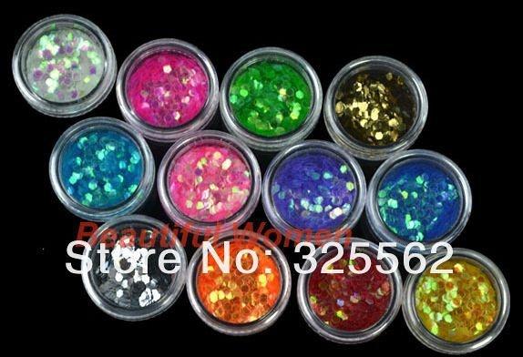 Glitter para unhas hexagonal grande - 12 cores