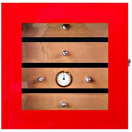Umidor Gabinete p/ 75 Charutos - Vermelho