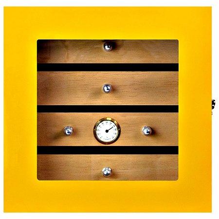 Umidor Gabinete p/ 75 Charutos - Amarelo