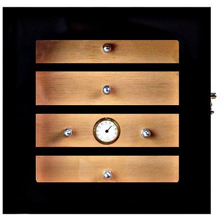 Umidor Gabinete p/ 75 Charutos - Black Piano