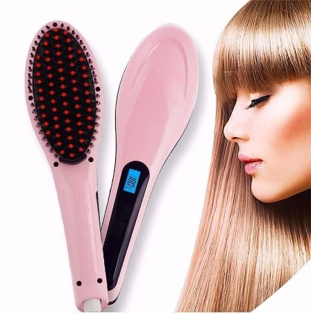 Escova Mágica Alisadora Cabelo Display Lcd Original Fast Hair Straightener 230 Cº Bivolt - Pink