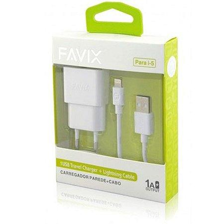 Carregador FAVIX Fonte e Cabo para Iphone 5, 6 e 7 - FX-KT26