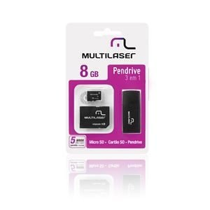 Kit Cartão de Memória Micro SD 8GB + Adaptador + Leitor USB MULTILASER - MC058
