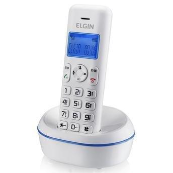 Telefone sem Fio TSF 5001 , Branco com Azul, Identificador de Chamadas, Agenda, Viva Voz, Localizador de Telefone, Baixo consumo de Bateria - Elgin