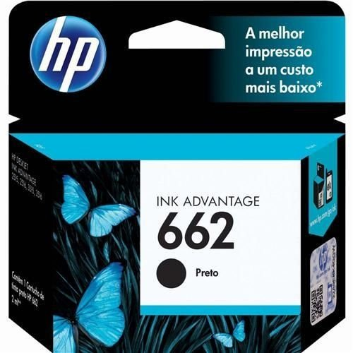 Cartucho de Tinta HP 662 Preto CZ103AB