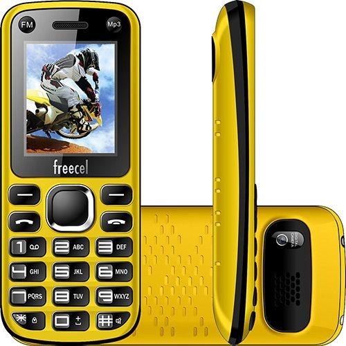 """Celular Desbloqueado Freecel Free Cross Amarelo Dual Chip, Tela de 1.7"""", Câmera VGA, Bluetooth, MP3 e Rádio FM"""