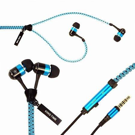 Fone De Ouvido Em Formato De Ziper Azul