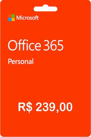Cartão Gift Card Office 365 Personal R$239