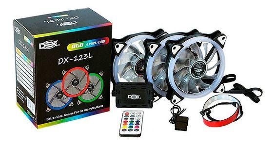 Kit 3 Coolers DX-123L RGB Anel-Led - DEX