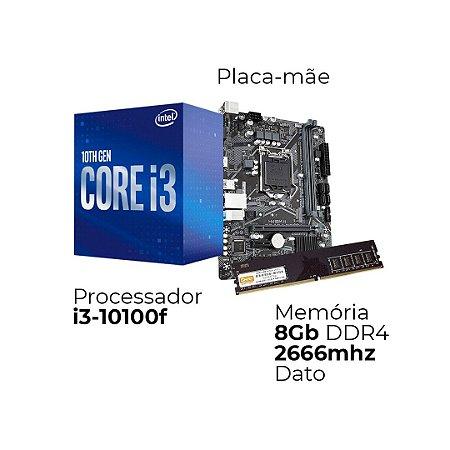 Kit Upgrade Intel i3-10100F, Placa Mãe H510, e Ram 8GB DDR4