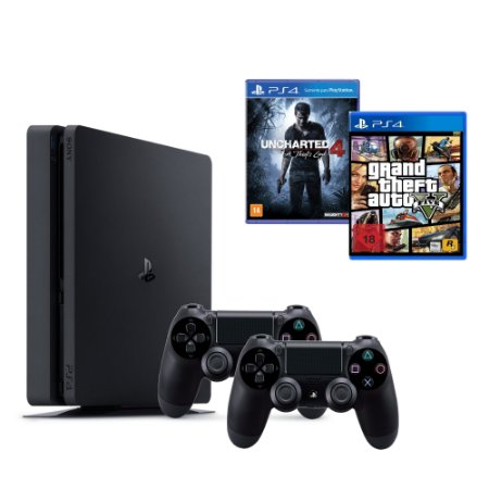 Console Playstation 4 Slim Sony 500Gb PS4 + GTA V + Uncharted + 1 Controle