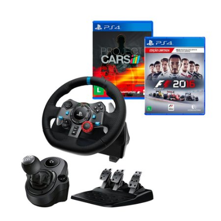 Volante Logitech G29 + Marcha + Project Cars PS4 + F1 2016 PS4