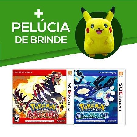 Pokémon Omega Ruby 3DS + Pokemon Alpha Sapphire 3DS + Pelúcia de Brinde