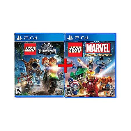 Jogos Lego Marvel Super Heroes + Lego Jurassic World - PS4