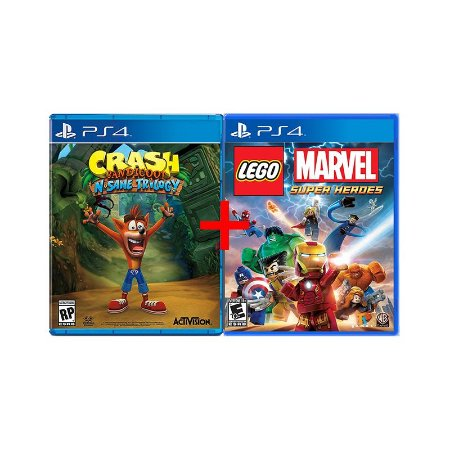 Jogos Crash Bandicoot N. Sane Trilogy + Lego Marvel Super Heroes - PS4
