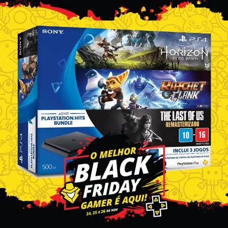 Playstation 4 500Gb + Jogos Horizon: Zero Dawn + Ratchet & Clank + The Last of Us
