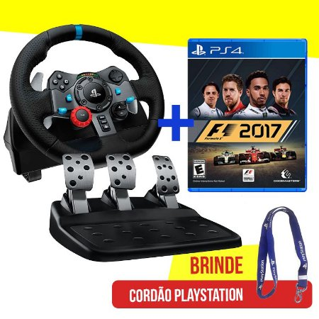 Volante Logitech Driving Force G29 - PS4, PS3 e PC + Jogo F1 2017 - PS4