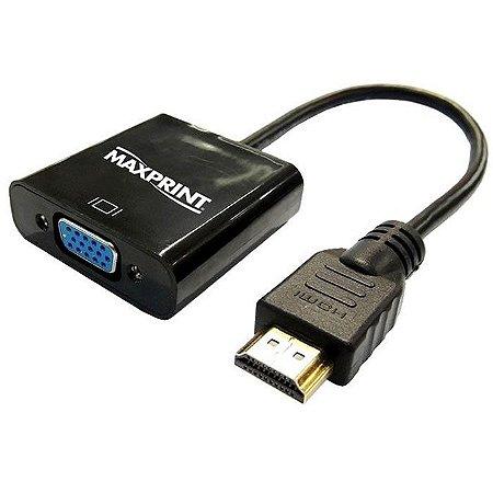 Cabo Conversor Converte o Sinal HDMI para VGA Maxprint