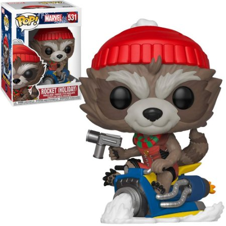 Boneco Funko Pop Marvel #531 - Rocket (Holiday)