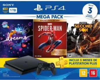 Console PlayStation 4 Slim 1TB + 3 Jogos + 3 Meses Playstation Plus (Bundle Hits 12) - Sony