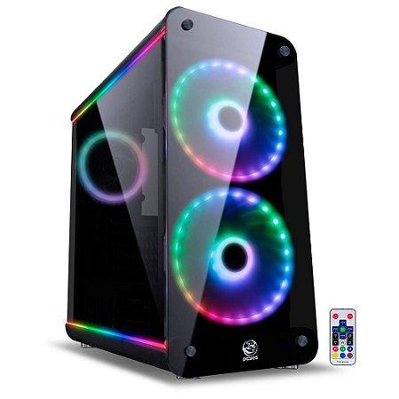 Gabinete Gamer PCYes Solaris - Mid Tower, RGB, com FAN, Laterais e Frontal em Vidro