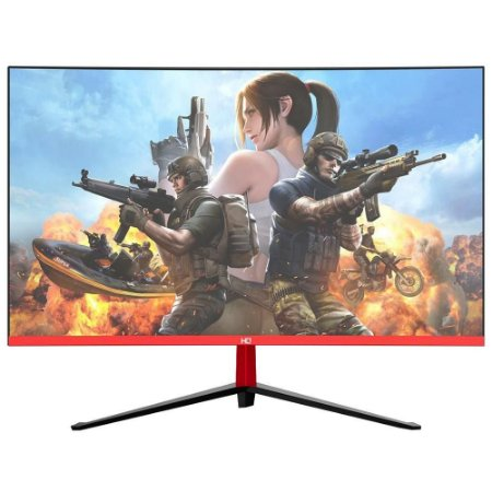 "Monitor Gamer LED Curvo 24"" 1ms 165hz HQ 24GHQ-Black RGB R3000 Freesync HDMI Display Port Branco"