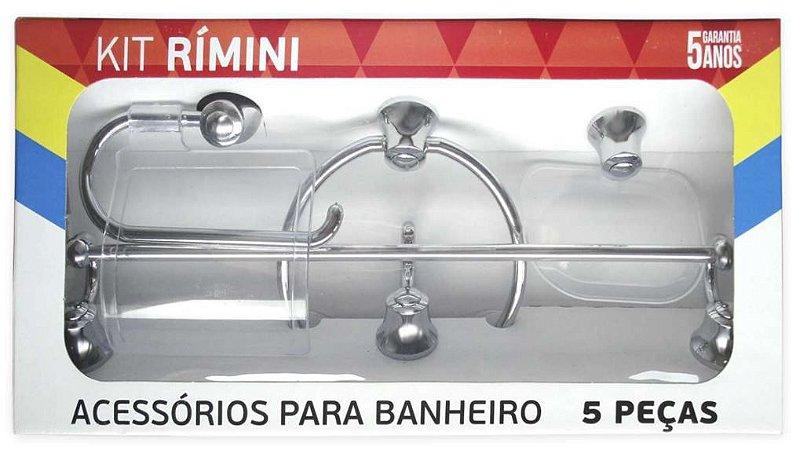 Kit Acessórios Para Banheiro Cromado 5 Peças 5 Anos de Garantia