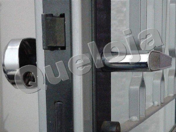 Fechadura Com Maçanetas Redonda Sextavada e Alavanca Stam Porta Madeira Casa Residência
