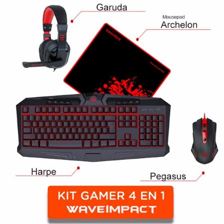KIT S103 WAVEIMPACT: MOUSE M705 + TECLADO K503 + HEADSET H101 + MOUSE PAD P001 REDRAGON