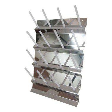 Escorredor Vertical Fixo de Parede em Aço Inox