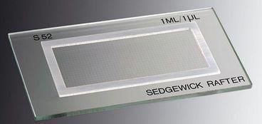 CAMARA PARA CONTAGEM SEDGEWICK-RAFTER DE VIDRO COM CELULA DE 50X20X1MM RETICULADA EM SUBDIVISOES DE 100 X 1MM COM TAMPA CX/1