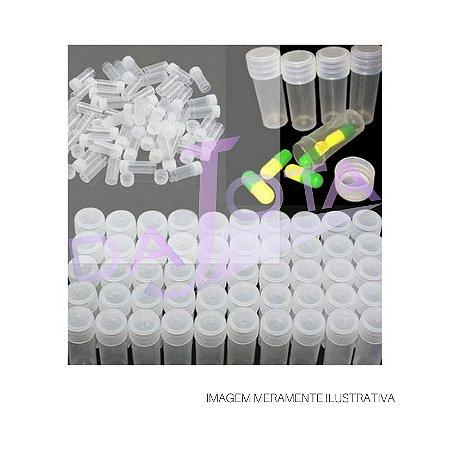 Frasco Plastico (Flaconete) com tampa de Rosca para 5 ml, Transparente, Pode Ser Usado Para Congelamento de Amostras.