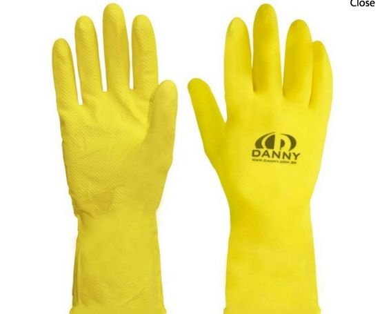 Luva De Latex Amarela Forrada Com Palma Antiderrapante Tamanho Medio (Par)