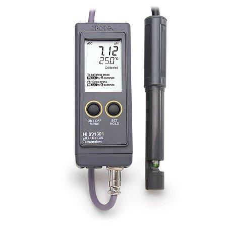 Medidor Portátil à prova'dágua para pH/EC/TDS – Faixa Baixa
