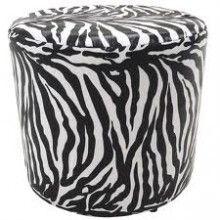 Puff Pufes Pufs Redondo 38cm Courino Animal Print Zebra