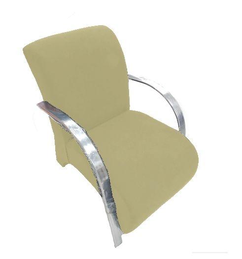 Poltrona Cadeira Decorativa Suede Sala de Estar Recepção- Bege
