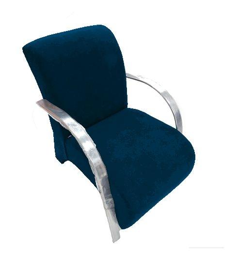 Poltrona Cadeira Decorativa Suede Sala de Estar Recepção - Azul