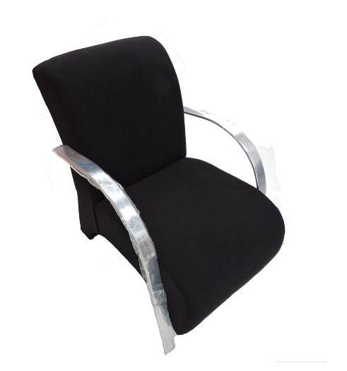Poltrona Cadeira Decorativa Suede Sala de Estar Recepção - Preta