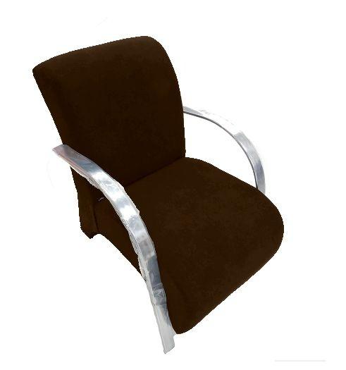 Poltrona Cadeira Decorativa Suede Sala de Estar Recepção - Marrom