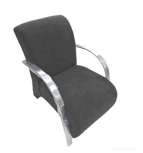 Poltrona Cadeira Decorativa Suede Sala de Estar Recepção - Cinza