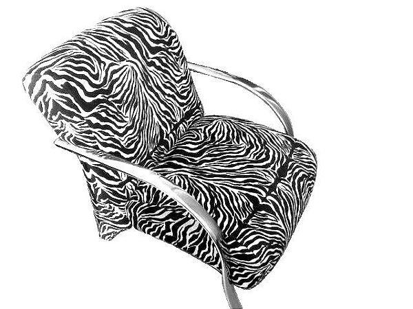 Poltrona Cadeira Decorativa Courino Sala de Estar Recepção - Animal Print Zebra