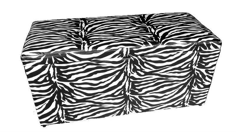 Puff Baú Retangular Sala Quarto Cama Casal Capitonê Zebra
