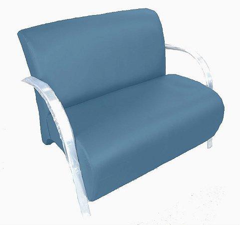 Poltrona Cadeira Decorativa Dois Lugares Suede Sala de Estar - Azul