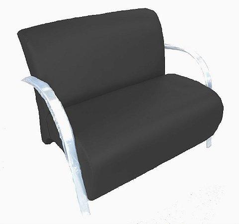 Poltrona Cadeira Decorativa Dois Lugares Suede Sala de Estar - Preta