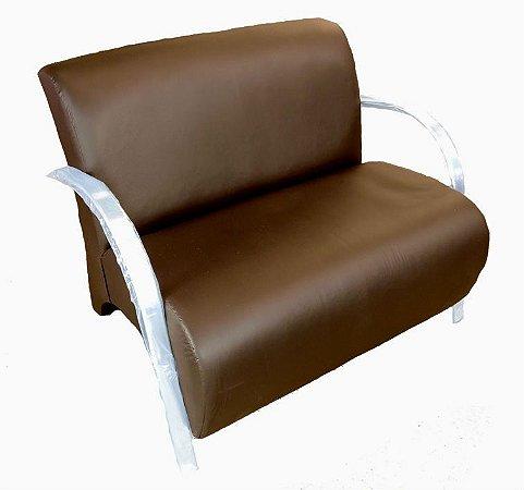 Poltrona Cadeira Decorativa Dois Lugares Courino Sala de Estar Recepção Diversas Cores