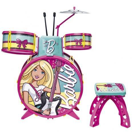 Bateria Infantil Barbie Menina Instrumento Musical