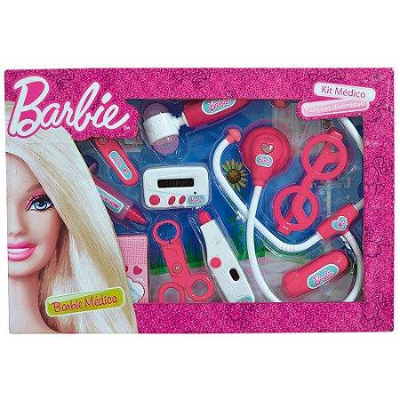 Kit Barbie Médica 10 Itens Tamanho Médio Fun 7496-4