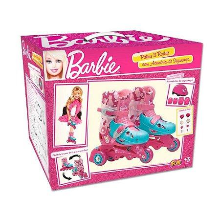 Patins Ajustável 3 Rodas Barbie Kit Segurança 29-32 7785-5 - Fun
